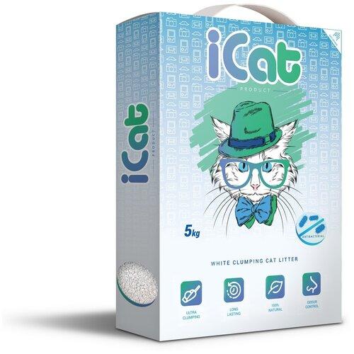 Комкующийся наполнитель iCat белый антибактериальный, 5 кг icat наполнитель комкующийся белый для туалета кошек с ароматом детской присыпки 5 кг