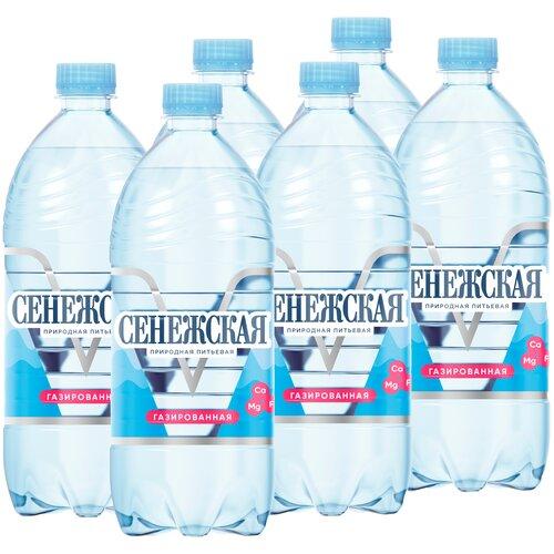 Вода минеральная Сенежская газированная, ПЭТ, 6 шт. по 1 л минеральная вода borjomi газированная пэт 6 шт по 1 л