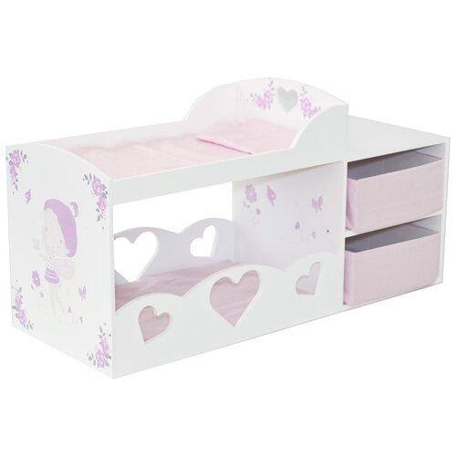 Купить PAREMO Кроватка для кукол двухъярусная с системой хранения Пьемонт Антонелла (PRT220-04) белый/розовый/фиолетовый, Мебель для кукол