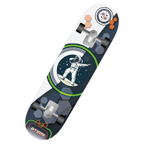 детский скейтборд navigator т20013 синий желтый Детский скейтборд ATEMI ASB31D02, 31x8, белый/синий