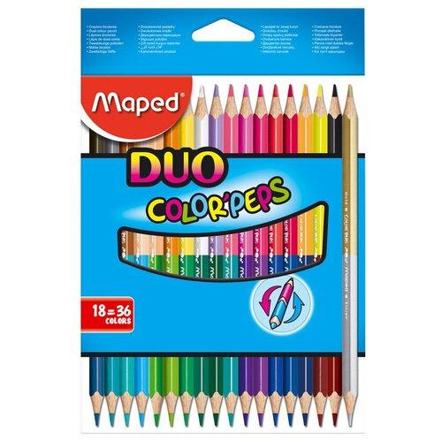 Фото - Maped Цветные карандаши двусторонние Color Peps Duo 36 цветов 18 штук (829601) карандаши набор 18цв аквар maped color peps aqua кисть