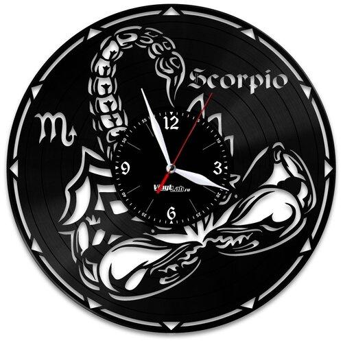 Часы из виниловой пластинки (c) VinylLab Знак зодиака «Скорпион»