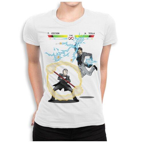 Футболка Dream Shirts Тесла Против Эдисона Женская XL Белая