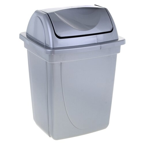 Корзина для бумаг пластик цельная с крышкой 12л Стамм (вращающ.крышка) серый металлик КР92 1083073 корзина для мусора сорренто 12л серый м2055 башкирия