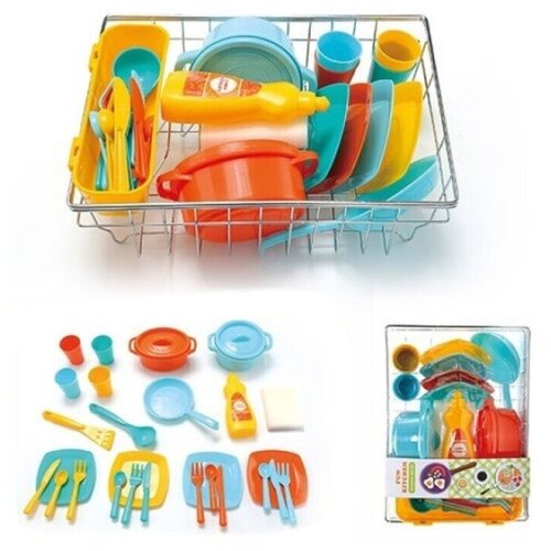 Набор посуды в металлической корзине 13447 Fun Kitchen, тарелки, ложки, вилки, кастрюли, ножи, сковородка и др. 31х22х10см