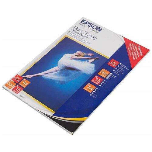 Фото - Бумага Epson A4 Ultra Glossy Photo Paper 300 г/м² 15 лист., белый бумага epson a4 premium glossy photo paper c13s041624 255г м2 50 лист белый
