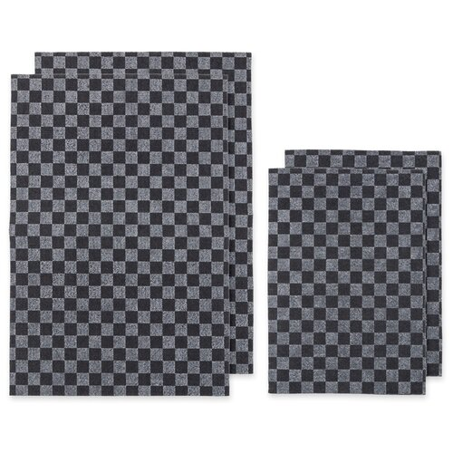 Коврики влаговпитывающие AUTOPROFI WET-3850s GY 2 шт. 38х50 + 2 шт. 38х25, комплект 4 шт., клетка серый