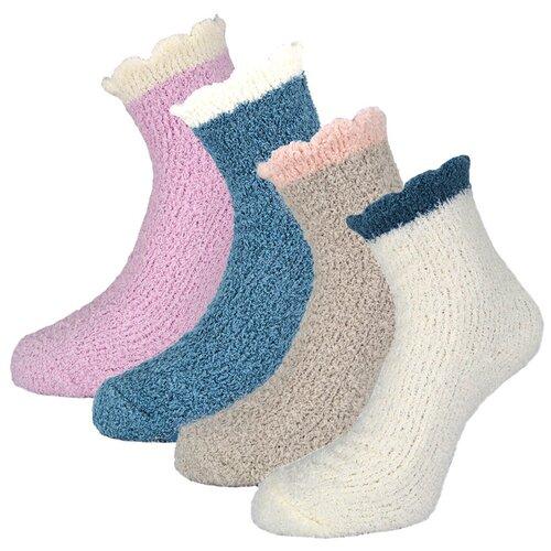 Женские демисезонные носки Guarneri из мягкого кораллового флиса, 4 пары в подарочном пакете. Размер 36-40. Цвет серый, синий, белый, сиреневый.