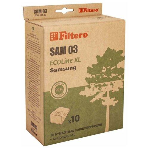 Фото - Filtero SAM 03 ECOLine XL, Мешки - пылесборники для пылесосов SAMSUNG, бумажные (комплект: 10 штук + фильтр) пылесборники filtero sam 02 4 samsung