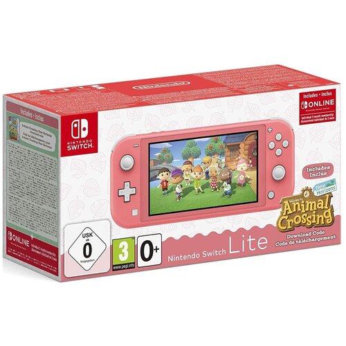 Nintendo Switch Lite (кораллово-розовый) + Animal Crossing: New Horizons + NSO (3 месяца индивидуального членства)