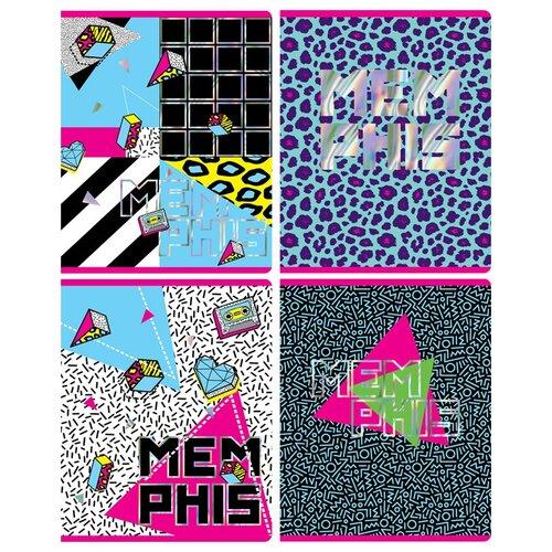 Greenwich Line Упаковка тетрадей Memphis N5c48-26440, 5 шт./4 дизайна, клетка, 48 л., белый/черный/розовый/голубой greenwich line тетрадь лайт vision beauty nr4a5 30730 клетка 80 л белый голубой розовый
