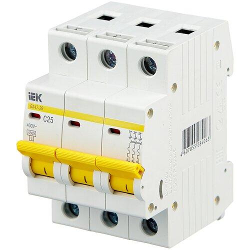 Автоматический выключатель IEK ВА 47-29 3P (C) 4,5kA 25 А автоматический выключатель iek ва 47 29 3p c 4 5ka 63 а