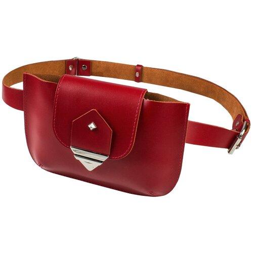 Фото - Поясная сумка женская MUMI, натуральная кожа, красный обложка для документов mumi mumi mu010dmiokz6