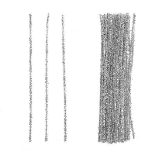 Купить Проволока с ворсом для поделок Блеск , набор 50 шт, размер 1 шт 30*0, 6 см цвет серебро 4449534, Сима-ленд, Украшения и декоративные элементы