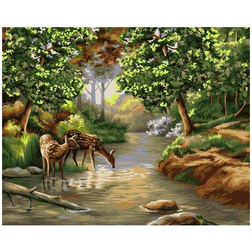 набор для рисования по номерам цветной элегантность в белом марка спейна 40 x 50 см A092 Набор для рисования по номерам 'Утро в лес' 40*50см
