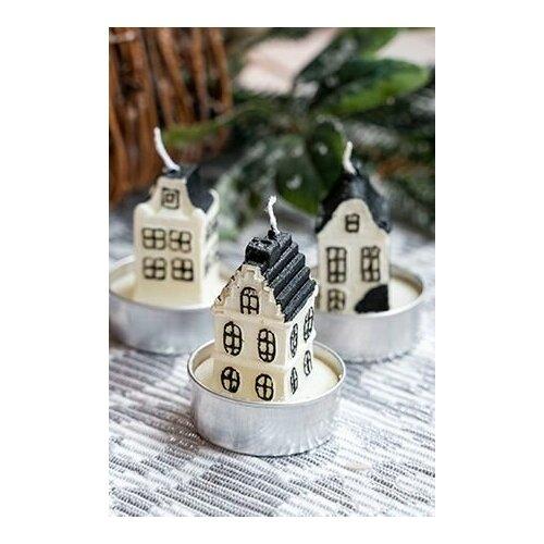 Набор фигурных свечей домики, 5 см (упаковка 3 шт.), Koopman International E15404191