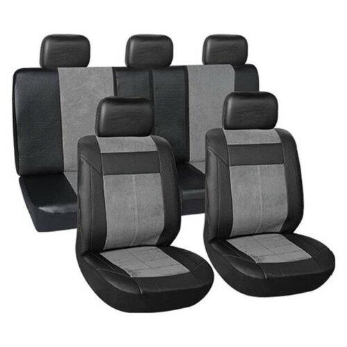 Чехлы автомобильные универсальные для легковых авто VETTLER IRBIS (SITZ 015G) полиэстр+вельвет,черные/серые 9пр