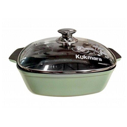 Фото - Кастрюля-жаровня 4л квадратная 260*260мм со стекл.кр. АП Titanium pro (green) жкт42а KUKMARA кастрюля жаровня квадратная с антипригарным покрытием со стеклянной крышкой kukmara titanium pro green жкт42а 4 л