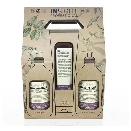 Фото - Insight Damage Hair - Набор для поврежденных волос (шампунь и кондиционер 400 мл + маска 250 мл) insight кондиционер colored hair защитный для окрашенных волос 400 мл