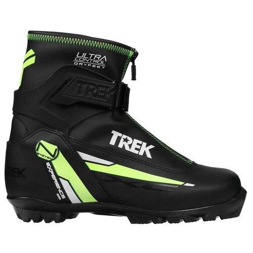 Trek Ботинки лыжные TREK Experience 1 NNN ИК, цвет чёрный, лого зелёный неон, размер 38