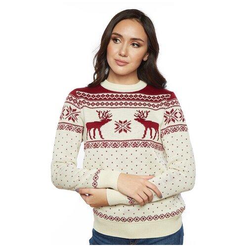 Шерстяной свитер, классический скандинавский орнамент с Оленями и снежинками, натуральная шерсть, молочный цвет, размер XS