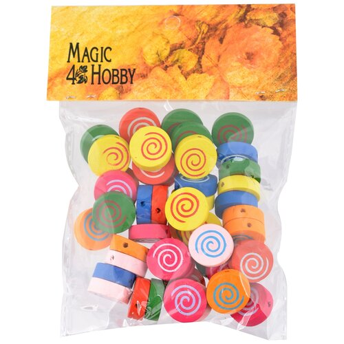 Бусины деревянные детские MAGIC HOBBY MG-B 105 цв.ассорти уп.40г (50±3 шт), 16х16х5 мм, in ?1,5 мм бусины деревянные детские 40 г mg b magic 4 hobby желтый зеленый
