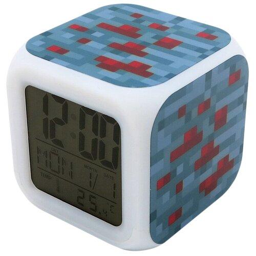 Часы-будильник Minecraft: Блок красной руды (пиксельные с подсветкой)