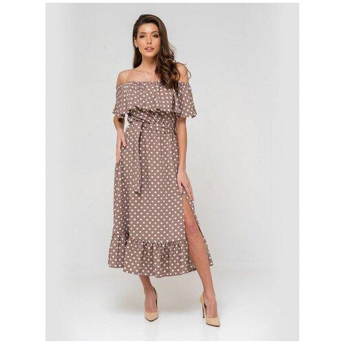 Платье сарафан в горох, открытые плечи с воланом, юбка колокольчик с воланом, кофейный цвет, размер S