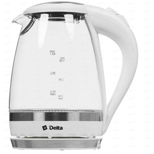DELTA Электрический чайник DL-1202 белый, 2200Вт, 1,5л