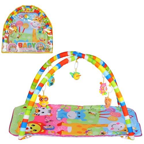 Детский коврик развивающий для малышей, прямоугольный, подвески-погремушки,игрушки развивающие, коврик для ползания детский, коврик для детей, игровой коврик детский, коврик для малышей, коврик для ребенка, коврик для детей игровой, мягкий, 61х4х58,5 см