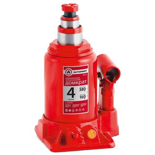 Домкрат бутылочный гидравлический AUTOPROFI DT-04 (4 т) красный
