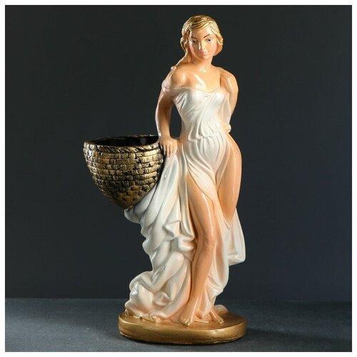 Хорошие сувениры Фигура с кашпо Девушка с корзиной персик/ золото 64см фигура с кашпо девушка с корзиной бронза цвет красный 64см