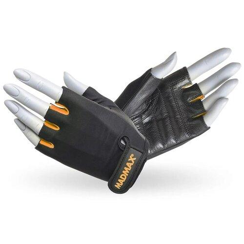 Перчатки для фитнеса / перчатки спортивные Rainbow MAD MAX, натуральная кожа, оранжевые L