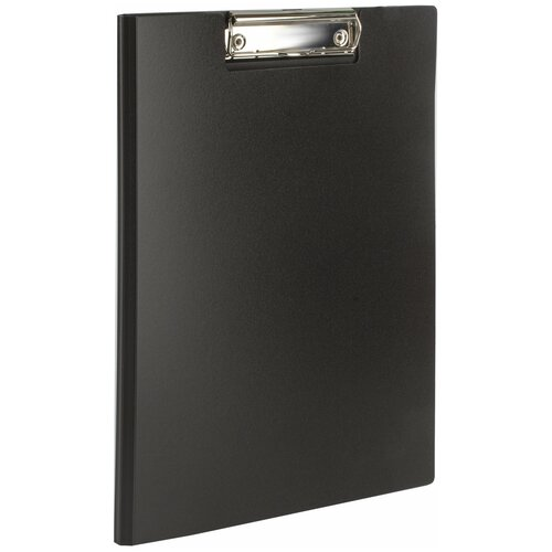 BRAUBERG Папка-планшет с верхним прижимом и крышкой, А4 черный