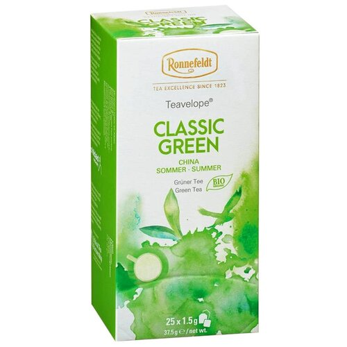 Чай зеленый Ronnefeldt Teavelope Classic green в пакетиках, 25 шт. чай зеленый ronnefeldt teavelope classic green в пакетиках 25 шт