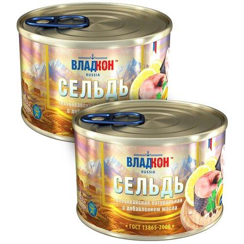 Сельдь владкон натуральная с добавлением масла, 2шт по 250г недорого