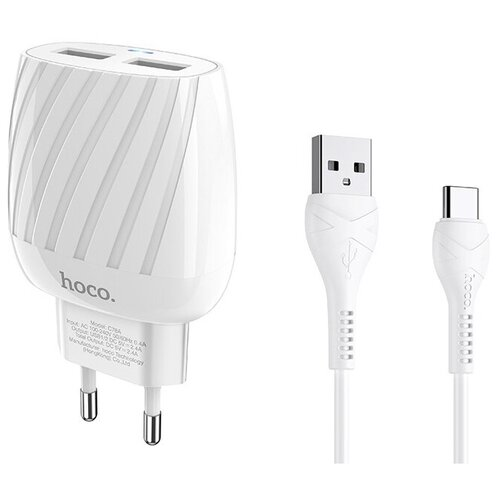 Фото - Зарядное устройство Hoco C78A Max Energy 2xUSB + кабель Type-C зарядное устройство hoco c75 2xusb type c кабель type c white