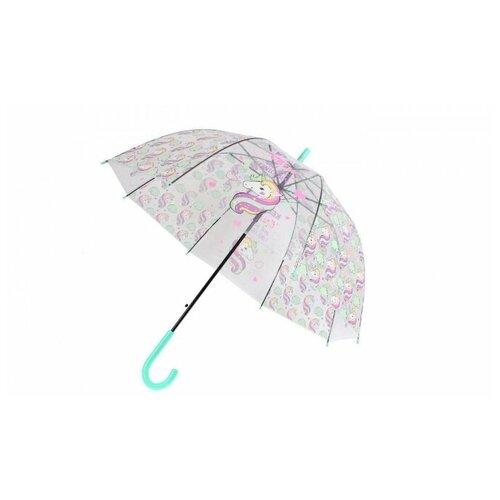 Зонт детский прозрачный «ЕДИНОРОГ» голубой