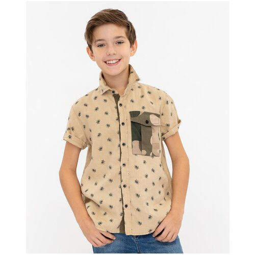 Рубашка Gulliver размер 146, бежевый