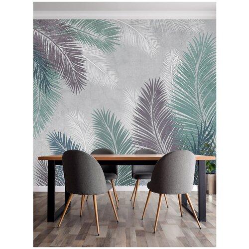 Обои 3d флизелиновые готовые на стену/ На кухню, в прихожую, спальню, гостиную, зал/ Природа, лес в интерьер/ Пальмовые листья в приглушенных тонах/ размер 300см (ширина) х 270см (высота)
