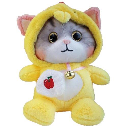 Мягкая игрушка Котенок в пижаме кигуруми Петух / в капюшоне 18 см