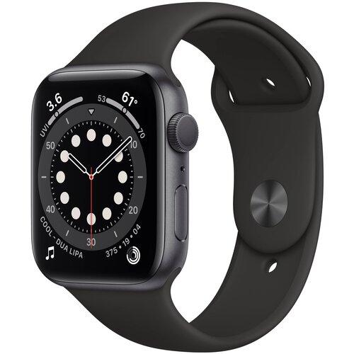 Умные часы Apple Watch Series 6 GPS 44мм Aluminum Case with Sport Band серый космос/черный
