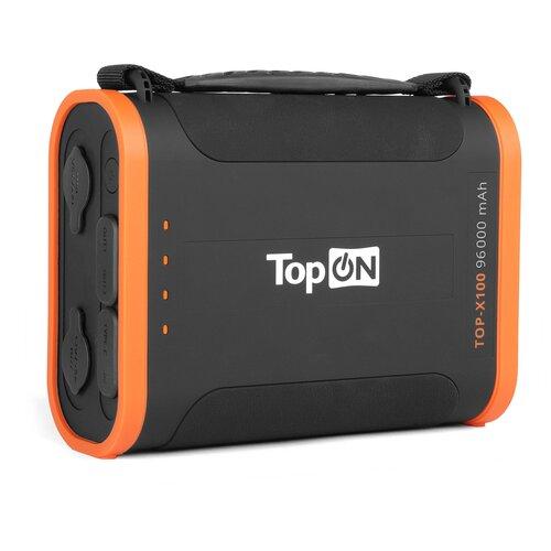 Внешний аккумулятор TopON X100 96000mAh USB Type-C PD 60W USB1 QC3.0 USB2 12W 2 авторозетки 180W фонарь защита от брызг LiFePO4. Черный