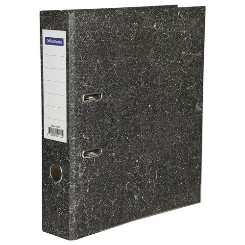 OfficeSpace Папка-регистратор с металлической окантовкой A4, мрамор, 70 мм черный