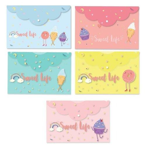 Купить Attache SELECTION Папка-конверт на кнопке Sweet life А4, пластик 200 мкм, 5 штук ассорти, Файлы и папки