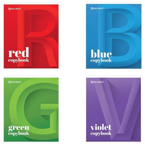 BRAUBERG Тетрадь ЭКО Офис 402778, клетка, 48 л., синий/красный/зеленый/фиолетовый