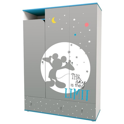 Шкаф трехсекционный Polini Disney baby Микки Маус с ящиками, белый-серый