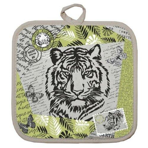 Прихватка Тигр винтаж 18х18 см, лен 50%, хлопок 50%, 160г/м2 7162639 прихватка 18х18 см японская кухня