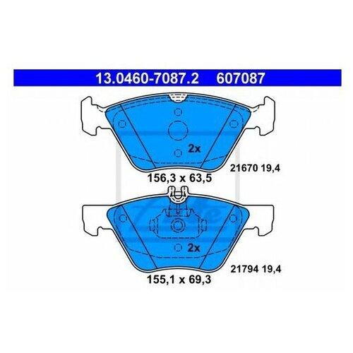 Комплект тормозных колодок Ate 13.0460-7087.2 для Chrysler Crossfire; Mercedes CLK A208,C208, E-CLASS S210,W210, SL R170