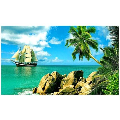 Фото - Картина по номерам с цветной схемой на холсте Molly арт.KK0619 Сейшельские острова (19 цветов) 30х40 см картина по номерам с цветной схемой на холсте 30х40 кот рокер 19 цветов kk0610